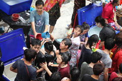 Bangkok April 15:Songkran Festival at Silom Road, Bangkok, is an. Other beat place to celebrate Thai tradition New Year for thais and foreigners on Silom Bangkok stock images