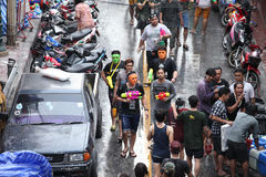 Bangkok April 15:Songkran Festival at Silom Road, Bangkok, is an. Other beat place to celebrate Thai tradition New Year for thais and foreigners on Silom Bangkok royalty free stock photography