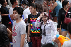 Bangkok April 15:Songkran Festival at Silom Road, Bangkok, is an. Other beat place to celebrate Thai tradition New Year for thais and foreigners on Silom Bangkok stock photography