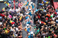Bangkok April 13:Songkran Festival at Silom Road, Bangkok, is an. Other beat place to celebrate Thai tradition New Year for thais and foreigners on Silom Bangkok royalty free stock photos
