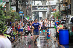 Bangkok April 13:Songkran Festival at Silom Road, Bangkok, is an. Other beat place to celebrate Thai tradition New Year for thais and foreigners on Silom Bangkok royalty free stock images