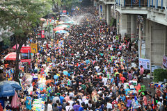Bangkok April 13:Songkran Festival at Silom Road, Bangkok, is an. Other beat place to celebrate Thai tradition New Year for thais and foreigners on Silom Bangkok royalty free stock photo