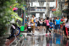 Bangkok April 13:Songkran Festival at Silom Road, Bangkok, is an. Other beat place to celebrate Thai tradition New Year for thais and foreigners on Silom Bangkok stock photography