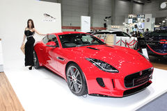 BANGKOK - August 19: Jaguar F-Type Coupe car with unidentified m Stock Images