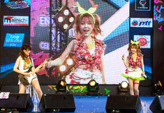 "BANGKOK - AUGUST 30 : Tanaka Reina (Vocals Leader) and Uozumi Yu. Ki (Guitar) from LoVendor Group in Japan Festa in Bangkok 2014 ""Enter 10th Celebration"" on Royalty Free Stock Photography"