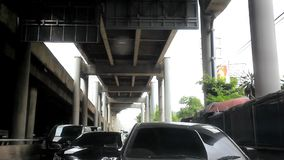 BANGKOK 4 august 2014. Traffic jam on the road in stock footage