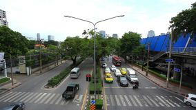 BANGKOK 2014 August 2. Traffic moves along a busy. BANGKOK 2014 August 2 THAILAND. Traffic moves along a busy city centre road of the Thai capital. Timelapse stock footage