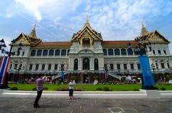 BANGKOK -August 03 : Traveler take a photo is a gift at Chakri m. Aha prassat hall in gland royal palace of  Bangkok ,Thailand on 03  August 2013. Grand royal Stock Photo