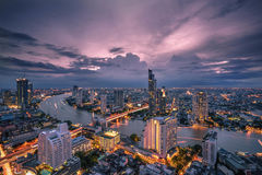 Bangkok - August 27 : view from the state tower 49 th floor in t. He twilight time on August 27, 2017 Royalty Free Stock Images