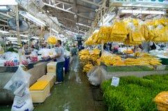 BANGKOK - Augusti 03: Blommamarknadsnamn Royaltyfria Bilder