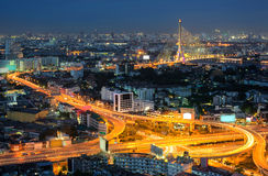 Bangkok autostrady półmrok, Ramy 8 most, Tajlandia obrazy stock