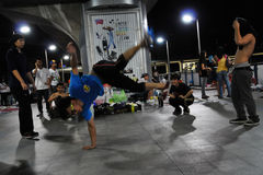 Bangkok B-Boy Breakdancing in the Street Royalty Free Stock Photo