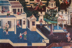 2014 in Bangkok, Bangkok, THAILAND - 5. Mai: Altes thailändisches Wandgemälde Lizenzfreies Stockbild