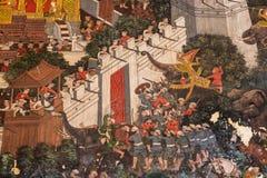 2014 in Bangkok, Bangkok, THAILAND - MEI 5: Oude Thaise muurschildering Stock Foto
