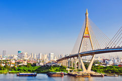 bangkok bhumibolbro thailand Royaltyfri Bild