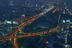 Bangkok bij nacht Stock Afbeelding