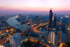 Bangkok bij schemer Royalty-vrije Stock Foto