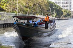 Bangkok Boat service. The Khlong Saen Saep Express Boat service operates on the Khlong Saen Saep in Bangkok, providing fast, inexpensive transportation through Royalty Free Stock Photography