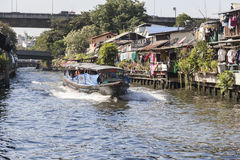 Bangkok Boat service. The Khlong Saen Saep Express Boat service operates on the Khlong Saen Saep in Bangkok, providing fast, inexpensive transportation through Stock Image
