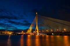 Bangkok Bridge at Night Royalty Free Stock Images