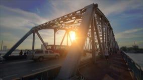 Bangkok bridge at twilight stock video footage