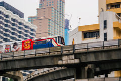 Bangkok. BTS Skytrain near Central World Square. BTS Skytrain (also known as the Bankok Mass Transit System) on elevated rail near Central World Square Stock Photos