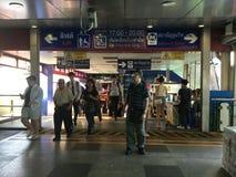 BANGKOK BTS Skytrain at Phoya Thai station Royalty Free Stock Photo