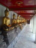 Bangkok Buddhas. Gilt bronze Buddahs in Bangkok temple Royalty Free Stock Images