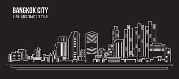 Bangkok Building Line art  Royalty Free Stock Photography