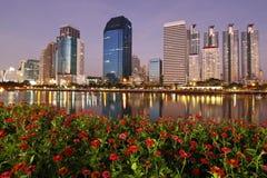 Bangkok business center on evening. Central business district and zinnia flower on evening, Bangkok Thailand Stock Photos