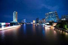 Bangkok, Chao Phraya River By Night Stock Photo