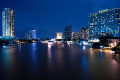 Bangkok, Chao Phraya River By Night Royalty Free Stock Photography