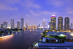 Bangkok and Chao Phraya river at twilight Stock Image