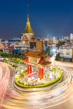 Bangkok Chinatown. The Gateway Arch Odeon Circle and Wat trimitre, Golden Buddha Temple, Landmark of Chinatown Bangkok Thailand Royalty Free Stock Image