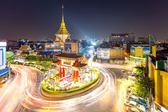 Bangkok Chinatown. The Gateway Arch Odeon Circle and Wat trimitre, Golden Buddha Temple, Landmark of Chinatown Bangkok Thailand Stock Photo