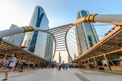 Bangkok Chong Nonsi skywalk at bangkok skytrain station on Silom Royalty Free Stock Image