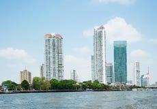 Bangkok city along chao praya river Stock Photos