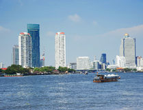 Bangkok city along chao praya river Royalty Free Stock Photos