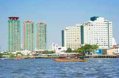 Bangkok city along chao praya river Royalty Free Stock Images