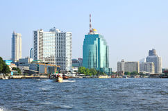Bangkok city along chao praya river Royalty Free Stock Photo