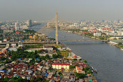 Bangkok city along chao praya river Stock Image