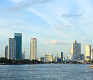 Bangkok city along chao praya river Royalty Free Stock Image