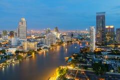 Bangkok city along chaophraya river in night,Thailand Royalty Free Stock Photos