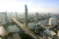 Bangkok City April 5 : Top view city on April 5, 2015 in Bangkok Royalty Free Stock Images