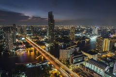 Bangkok City April 5 : Top view city on April 5, 2015 in Bangkok Royalty Free Stock Photography