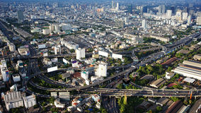 Bangkok city bird's-eye view in evening Royalty Free Stock Photos