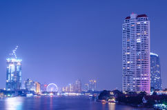 Bangkok city building at night.river in city.building and tall b Royalty Free Stock Photography