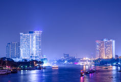 Bangkok city building at night.river in city.building and tall b Stock Images