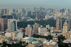 Bangkok city business area and central park Royalty Free Stock Images