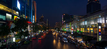 Bangkok city centre at night Royalty Free Stock Photos